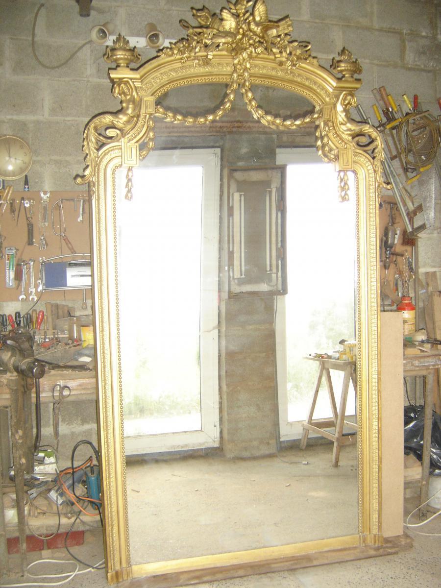 spectaculaire et tr s grand miroir d 39 poque napol on 3 dor de style louis 16 miroirs de chemin e. Black Bedroom Furniture Sets. Home Design Ideas