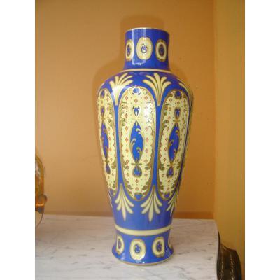 Grand Vase d'époque Art Déco En Limoges Hauteur 36 Cm