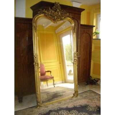Grand Et Large Miroir Doré à La Feuille d'Or d'époque L PH