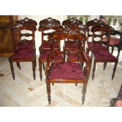 Suite De 8 Chaises + 1 Fauteuil De Style Charles X Epo L Ph