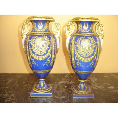 Paire De Vases Imperiale De Sévres d'époque 1er Empire