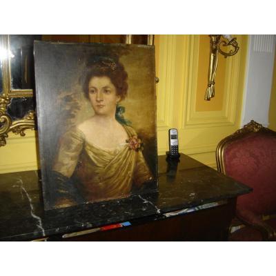 Très Ancienne Peinture Hsp Representant Une Jeune Femme