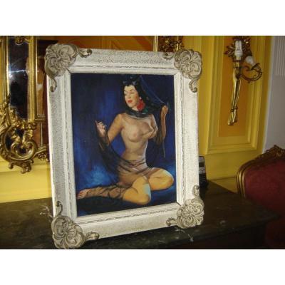 Peinture Hst Ancienne Représentant Une Femme Nue