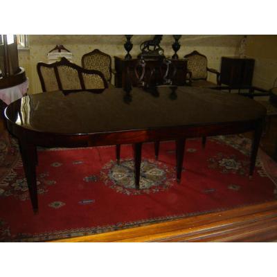 Table d'époque Directoire Acajou Massif 8 Pieds Fuseaux