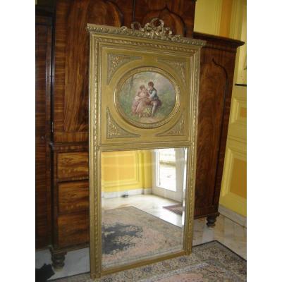 Miroir Trumeau d'époque Fin 19eme De Style Louis 16 Doré