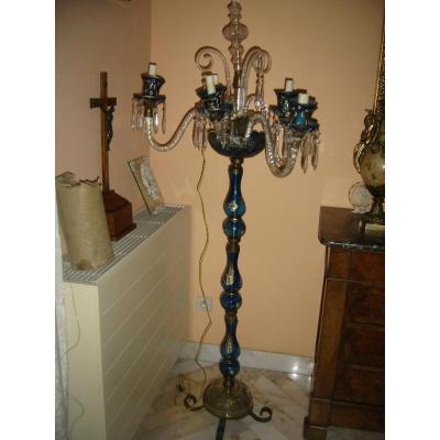 Floor Lamp In Murano Venice A 6 Lights Vintage 19th Blue