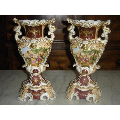 Pair Of Vases In Old Paris Double Faces Of Epo Around 1830