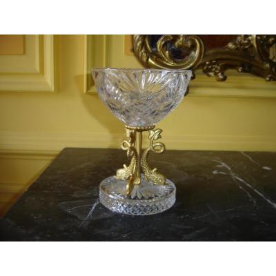 Coupe En Cristal Taillé Aux Dauphins Doré A l'Or Fin Milieu 20 Eme