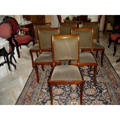 Ancienne Suite De 6 Chaises De Style Empire incurvée En Hêtre Massif Poli