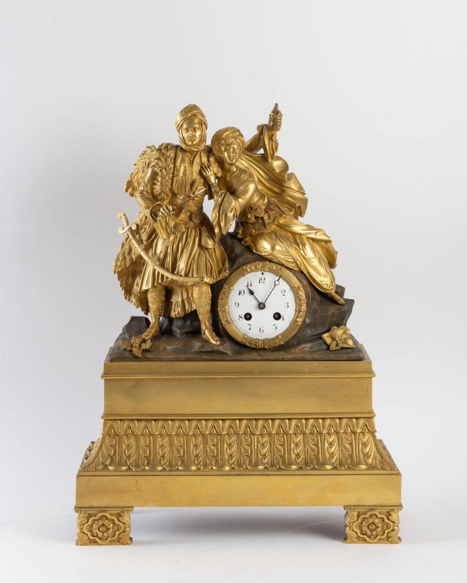 Pendule Orientaliste d'époque Restauration à Figures De Turcs.