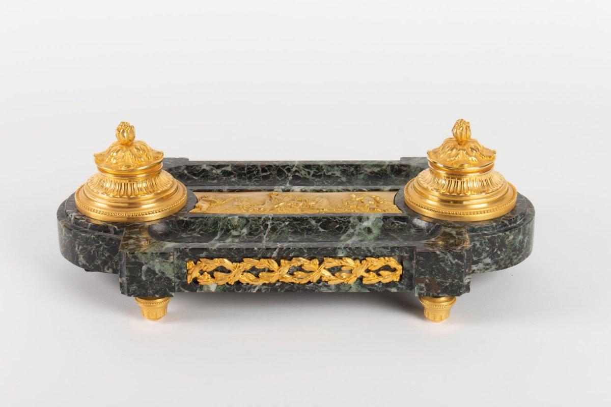 Encrier En Bronze Doré Et Marbre Vert, époque Napoléon III