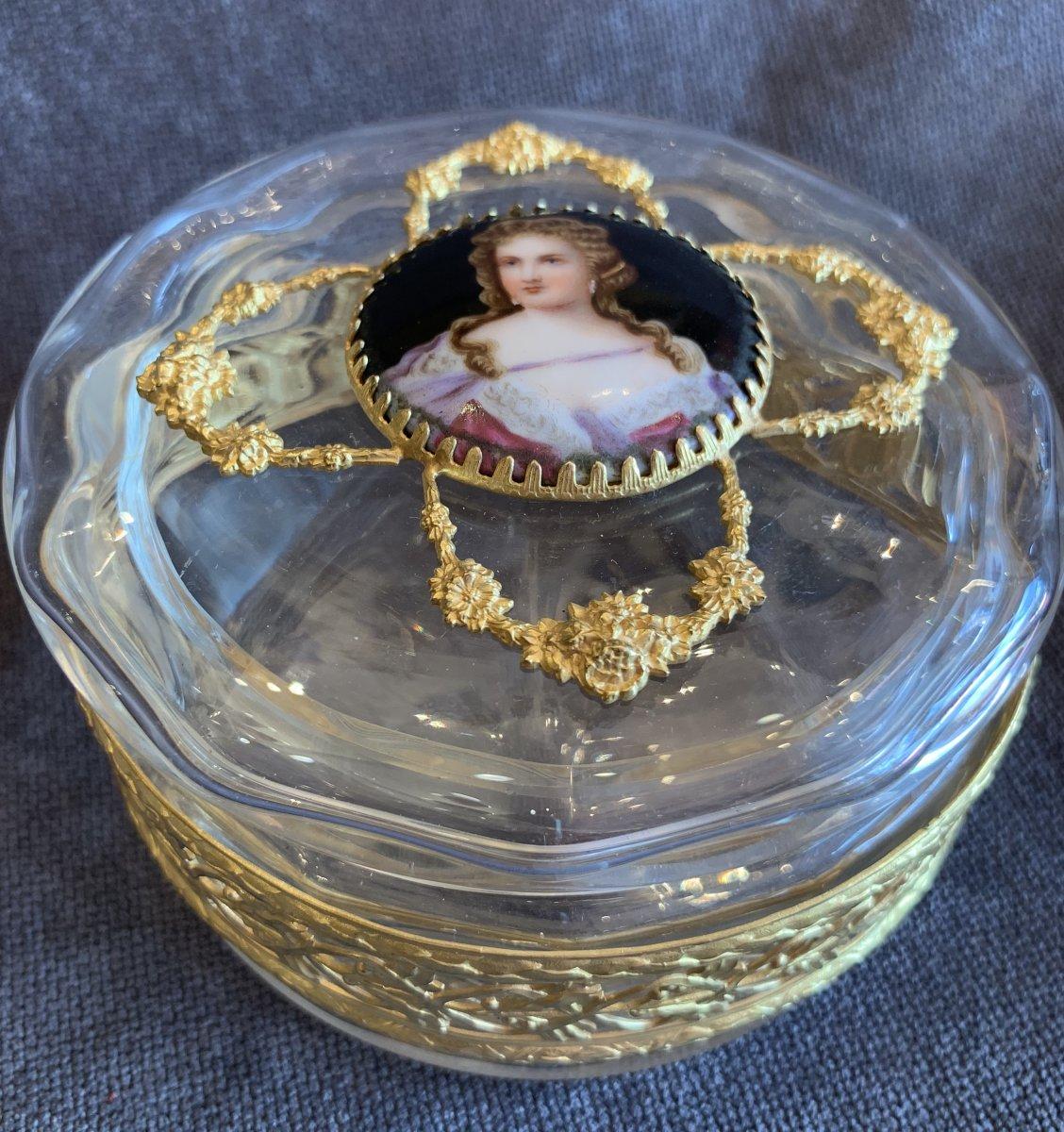 Boîte En Cristal Avec Plaque En Porcelaine