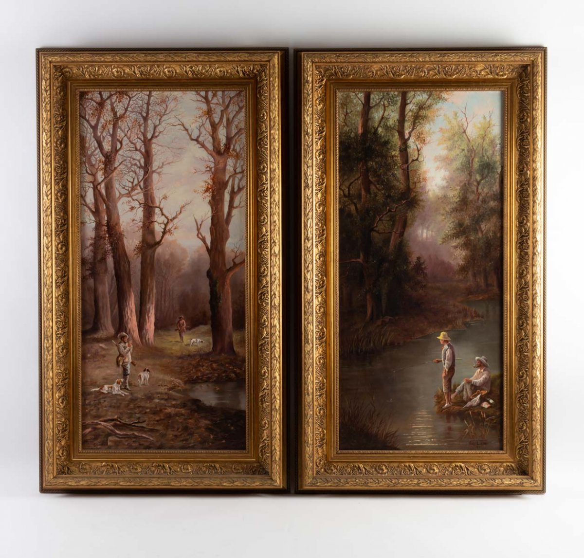 Pair Of Oil On Canvas
