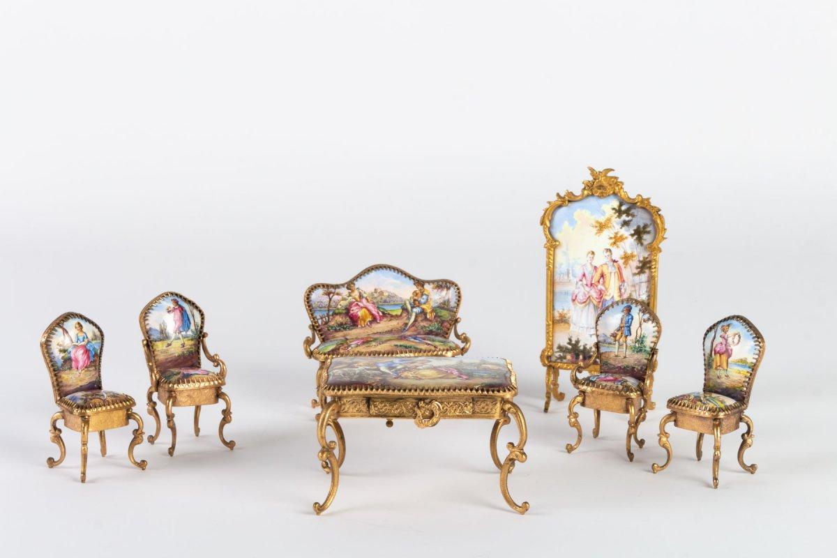 Miniature Représentant Un Ensemble De Salon En émail De Vienne, XIX ème .-photo-2