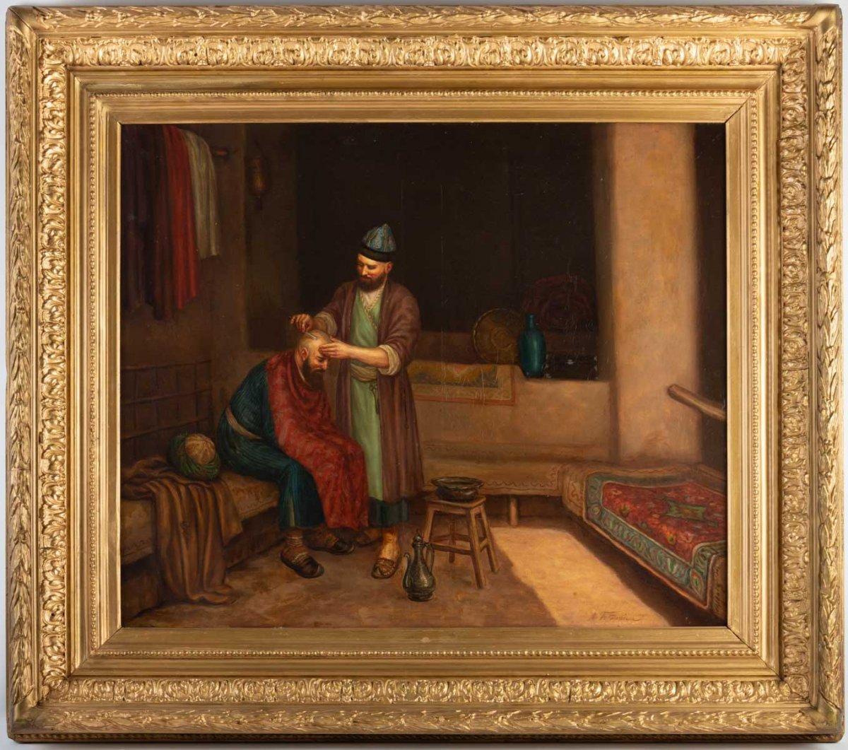 LE BARBIER TURC, tableau orientaliste signé par Afotyanior, XIX ème
