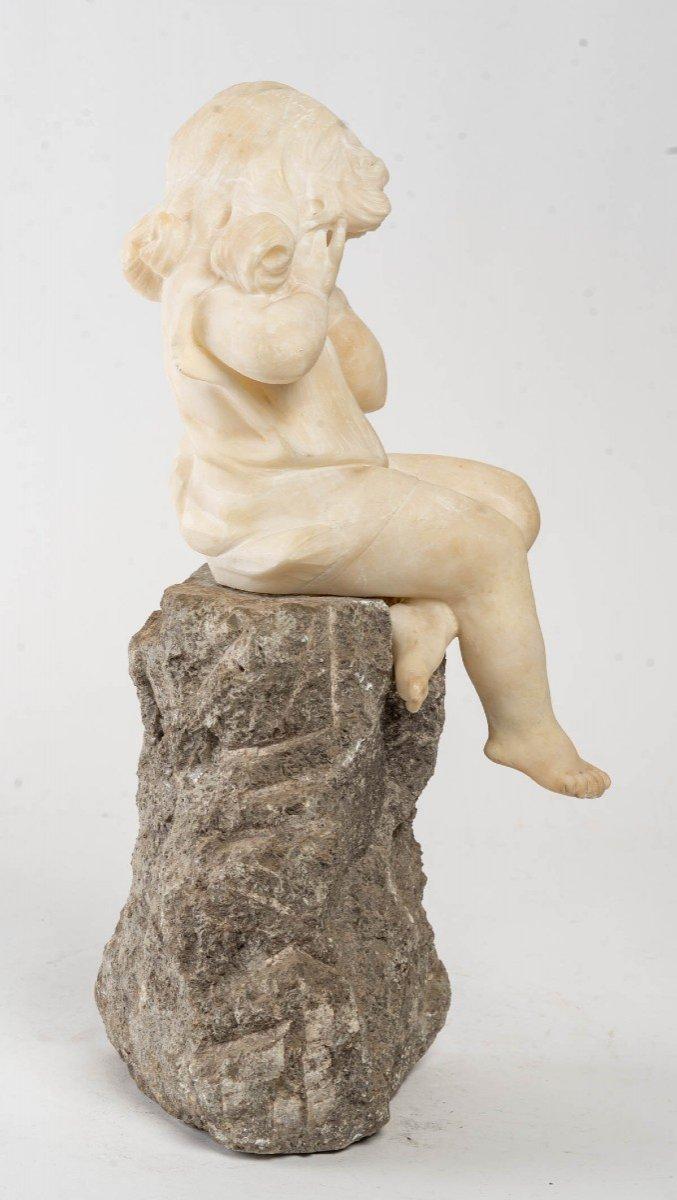 Figurine En Albatre d'Une Petite Fille-photo-3