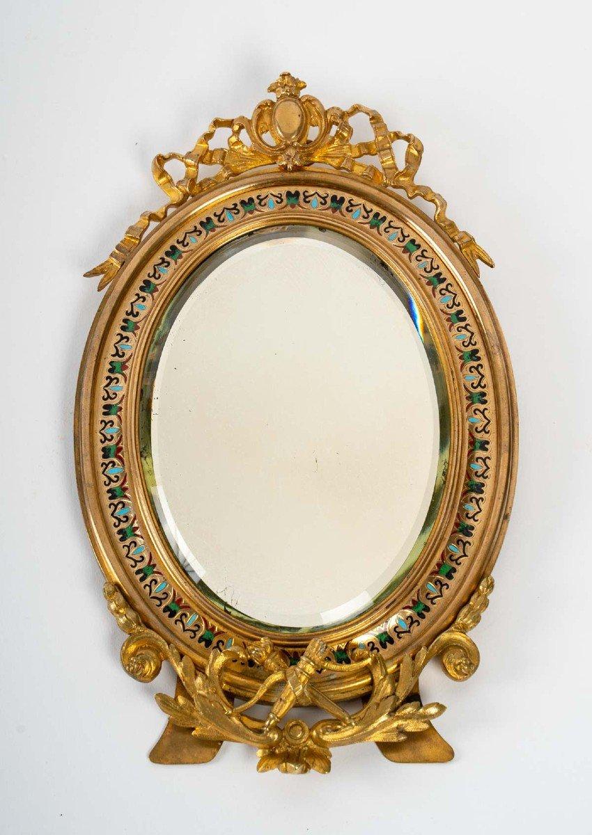 Miroir de table en bronze doré et cloisonné  XIXème siècle
