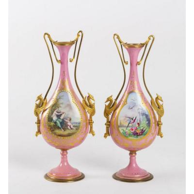 Paire De Vases En Porcelaine Sèvres