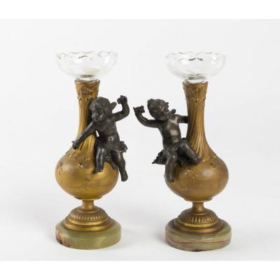 Paire De Petits Vases Soliflore Napoléon III