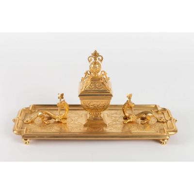 Encrier En Bronze Doré à Décor De Chimères, époque Napoléon III