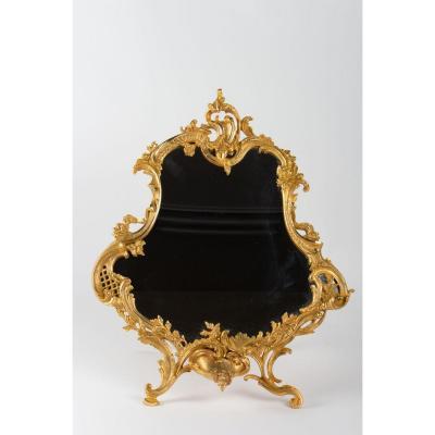 Miroir De Table En Bronze Doré Style Louis XV, époque XIX ème