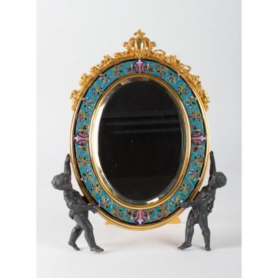 Table Mirror In Gilt Bronze And Cloisonne, Napoleon III Period;