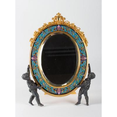 Miroir De Table En Bronze Doré Et Cloisonné, époque Napoléon III;