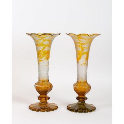 Pair Of Engraved Bohemian Crystal Vases XIXth Century