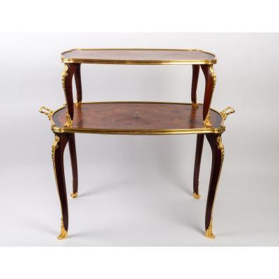 Table à Thé En Placage De Palissandre De Style Louis XV, époque Napoléon III
