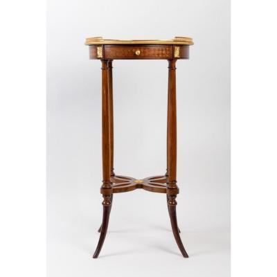 Small Napoleon III Style Veneer Pedestal Table