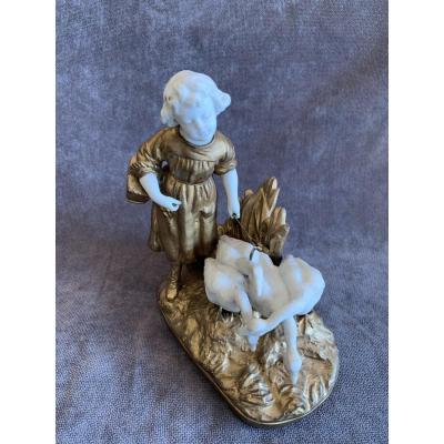 Figurine Petite Fille Aux Oies