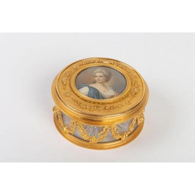 Coffret En Cristal Et Bronze, Peinture En Ivoire, Style Louis XVI, époque Napoléon III
