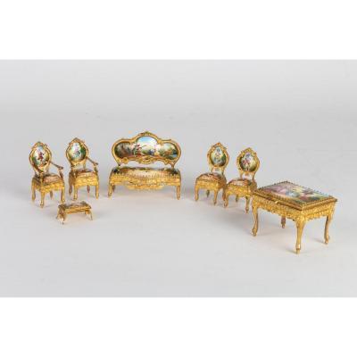 Miniature Salon En émail d'Autriche XIX