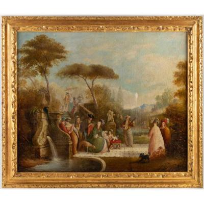 Country Festival, Oil On Canvas From The XVIIIth Attributed To Jean Baptiste Francois.