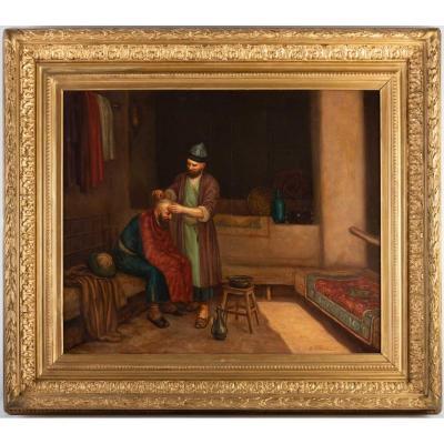 LE BARBIER TURC, tableau orientaliste signé de Afotyanior, XIX ème
