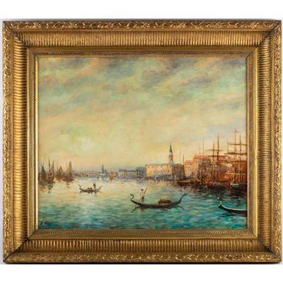Vue De Venise, Tableau Huile Sur Toile, Signée De Robert Mogisse, XX ème
