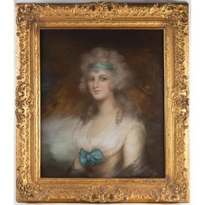 Pastel Portrait d'Une élégante, Travail Anglais Signé De John Russel Ra, époque XVIII ème.