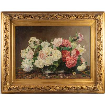 Bouquet Of Peonies, Oil On Canvas Signed D. Mansen, Late Nineteenth