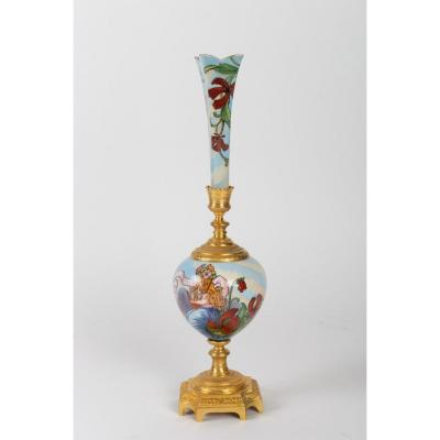 Art Nouveau Soliflore Vase, Decorated With Women And Flowers, 1900s