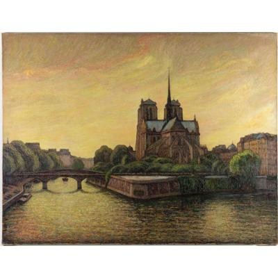 Oil On Canvas Representing Notre-dame De Paris Between The Quays Of The Seine And The Vegetation