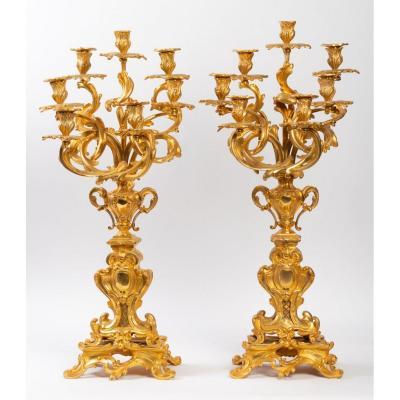 Pair Of Candelabra In Gilt Bronze Louis XV Style, Napoleon III Period.