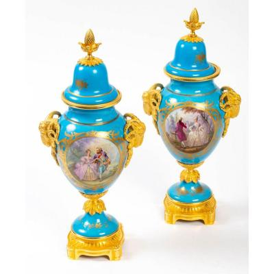 Pair Of Sèvres Porcelain And Bronze Vases, Napoleon III Period