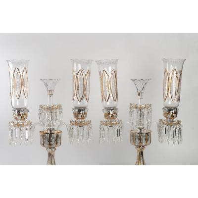 Set Of Three Baccarat Candelabra With Three Arms Of Light