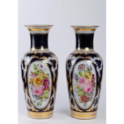 Pair Of Paris Porcelain Vases In Night Blue Color