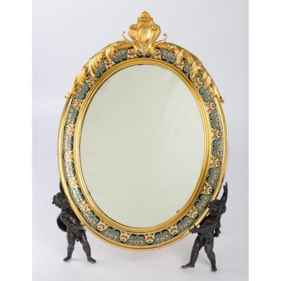 Toilet Mirror In A Bronze Frame With Cloisonné Enamel Decor