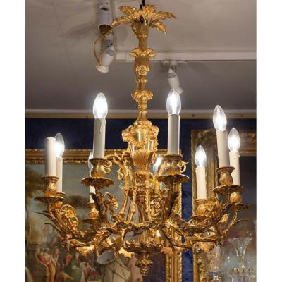 Chandelier And Its Pair Of Nineteenth Sconces