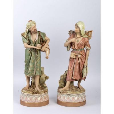 Vendeur d'eau et femme revenant de la pêche. Royal Dux Bohemia, première moitié XXème