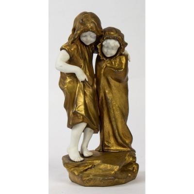 Figurine Mednat, En Régule Et Biscuit Représentant Deux Fillettes, époque XIX ème