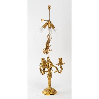 Pied De Lampe En Bronze DorÉ XIXÈme SiÈcle