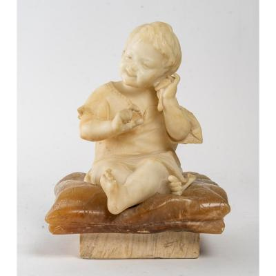 Figurine En Albatre d'Un Petit Enfant